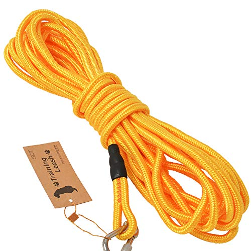 3色展開 (ロングリード 15m オレンジ) 丸ロープ 軽量 中型犬 大型犬用 伸縮性抜群 絡みにくい 水に浮く頑...