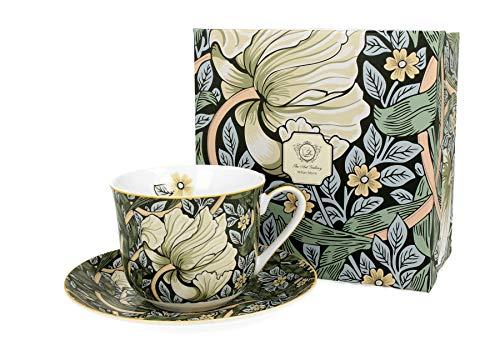 Duo Jumbotasse und Untertasse William Morris Grün 450ml Riesentasse Unterteller große Kaffeetasse Green Kaffee-Tasse Jumbo-Tasse Riesen-Tasse Unter-Tasse Art Porzellan Unter-Teller