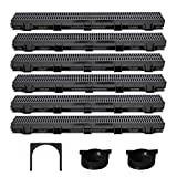 US TRENCH DRAIN - 3.33 ft Regular Trench Drain - Black Polymer, Heel Friendly Grate - For Drainage Systems, Driveway, Basement, Pools, etc. (Deep, 3.3 ft (6 Pack))