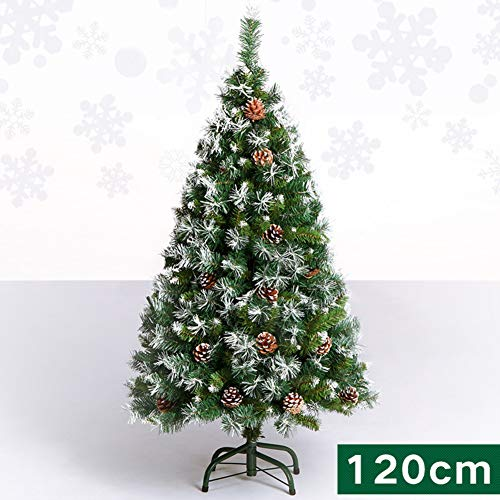 ZT&ZY White Flocked Christmas Tree, Auto-Spread PVC Xmas Pine Tree with Pine Cones red Berries Hinged Easy Assembly Nordic Style Christmas Trees-A 1.2m/3.9 ft