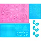 3 Pieces 3D Printing Pen Mat 3 Style Multi-Shaped Silicone 3D Drawing Template Large 3D Pen Drawing Mat 3D Pen Drawing Tools and 6 Silicone Finger Caps for Beginners Adult and Children
