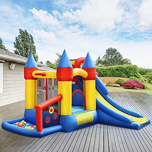 Casa inflable de rebote, niños que saltan el castillo de la bocina con diapositivas, casa de juego de fiesta interior al aire libre con borde de baloncesto, incluye bolsa de transporte, estacas