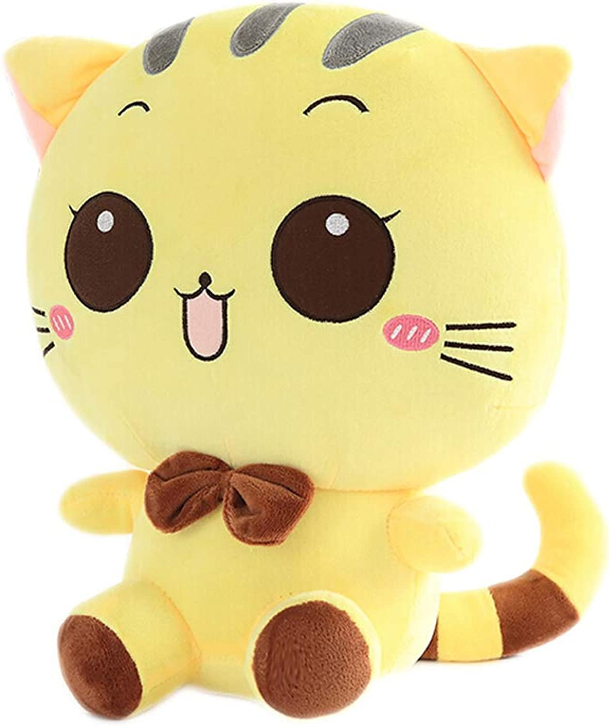 Zhijie Cat Plush Emoji Cushion Pillow PP Cotton Filling Home Decor Doll Smiling Face Cartoon Stuffed Toys Gifts 60CM 23.6 Inch (color   Yellow round eyes)