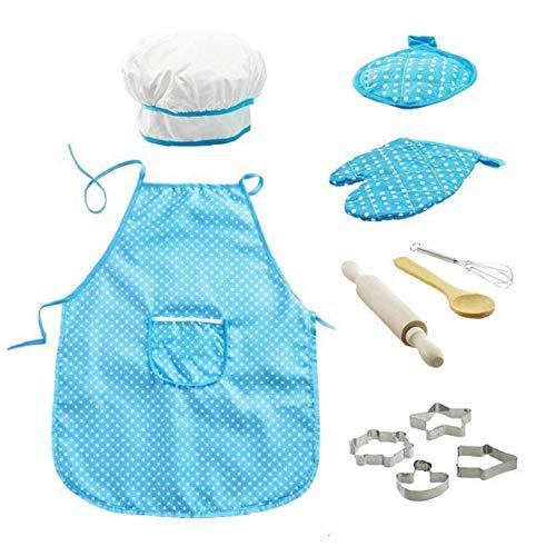 11pcs / Pack Chef De Cocina Conjunto De Nios Juegos De rol Traje del Cocinero con El Delantal del Cocinero Sombrero Utensilios De Cocina Mitt