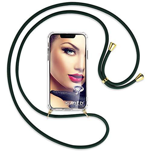mtb more energy® Mobiele telefoon ketting voor Huawei Mate 20 (6.53'') - Donkergroen/Goud - Smartphone hoesje met koord - Nek Tas Cover met snoer band