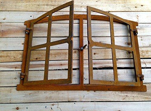 Antikas - Eisenfenster mit Doppelflügel zum Öffnen, antik-ländliches Fenster Gartenmauer