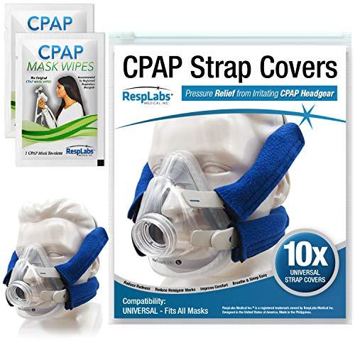 RespLabs Cubiertas de correa de CPAP universales y reutilizables, Tela Wraps 10 Pack - Incluye 2 toallitas de viaje CPAP y libro electrónico CPAP Comfort Hacks.