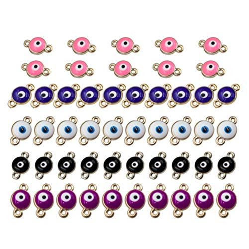 SUPVOX - 50 colgantes de aleación con ojos y perlas para creación de joyas, pulseras, collares, pendientes, bisutería, manualidades