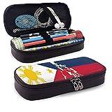 Astuccio in pelle, mappa e bandiera delle Filippine Illustrazione di tema di cultura e geografia del paese, Custodia per penna da ufficio per studenti, 7.8 'x4.5' x1.5 '
