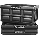 CleverMade 32L Collapsible Storage Bins - Durable Plastic Folding Utility Crates, Solid Wall Stackable Containers for Home & Garage Organization, No Lid, Black, 3 Pack