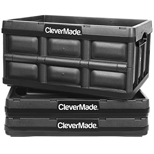 CleverMade 32L Collapsible Storage Bins - Durable Plastic Folding Utility Crates, Solid Wall Stackable Containers for… 3