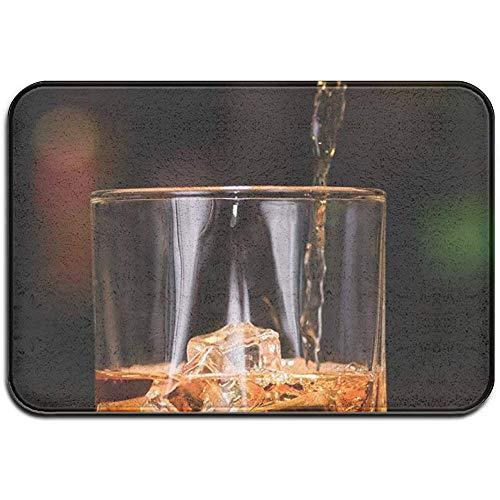F.L.OPOPO Bath Mat Whiskky Drinks Highball Glass Ice Alfombrilla de Goma para Exteriores Alfombras para Puertas Delanteras Porche Garaje Flow Slip Entrada Alfombra Alfombra Hogar, 40X60Cm
