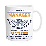 Funny coffee Mug - Being A Manager Is Easy It's Like Riding A Bike ,Manager Coffee Mug ,Cups for colleagues and friends - 11 oz Novelty Mug