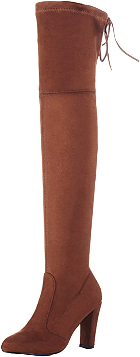 AIYOUMEI Women's Round Toe Lace-up Solid Block Heel Stretch Boots Suede Leather Autumn Winter Over The Knee Long Boots