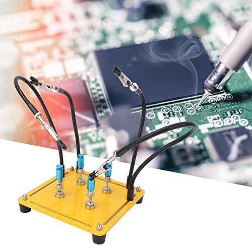 YASE-king Placa de circuito accesorio, el titular de la tarjeta de circuitos Movable Helping Hand 4 brazo flexible de soldadura de reparación Fiuture (Con Pilar)