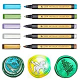 Wax Seal Pen Set, ONWINPOR Metallic Marker Pens Wax Seal Pen for Decorating Wax Seal Stamp Suit for Wax Sealing Beads Sticks, Ideal Tool for Wedding Invitation Envelope (5 Colors)