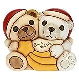 THUN - Soprammobile Natalizio Orsetto e Orso Polare - Decorazioni Natale Casa - Formato Medio - Ceramica - 16,8 x 12,4 x 14 h cm