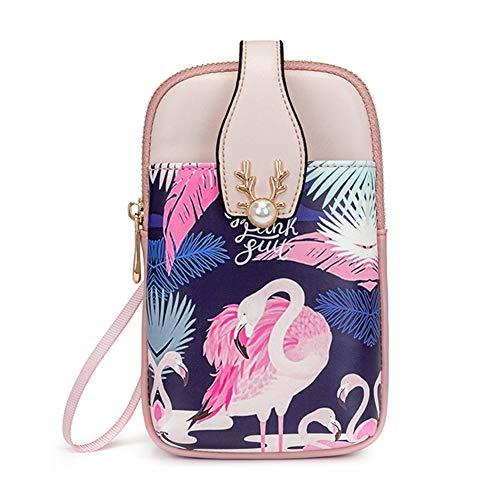 Aeeque Handy Umhängetasche, Handytasche zum Umhängen Leder, Kleine Tasche für Handy und Geldbörse Reisepass,Tier Flamingo Schultertasche Handy Handtasche kompatibel mit iPhone 11 iPhone 8 - Rosa