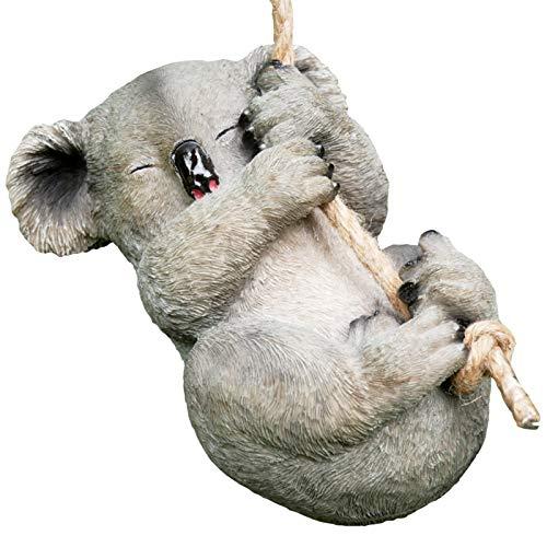 Prodbuy Home Colgante lindo Koala Jardín Ornamento – Columpio en cuerda con ojos cerrados – Suspensión de árbol escultura al aire libre