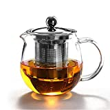 HKKAIS 32 oz / 950ml glass teapot with removable infuser teabloom stovetop & microwave safe borosilicate clear large glass teapot