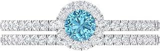 Anillo de halo solitario de 4,00 mm, D-VSSI Moissanite Eternity, anillo de boda de oro, oro blanco de 14 quilates