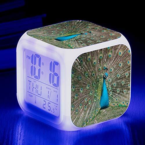 Totots Luminoso pequeño reloj despertador Animales: pavo real, lindo calendario cuadrado de temperatura cuadrada reloj de alarma, reloj de alarma para el hogar creativo, reloj despertador perezoso, mi