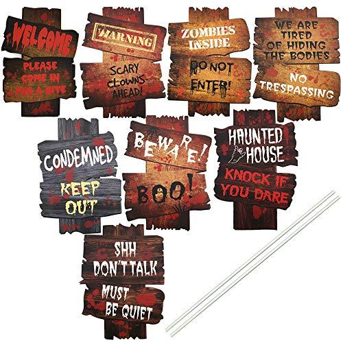 Skystuff - 8 carteles de Halloween, decoración de Halloween para fiestas de Halloween