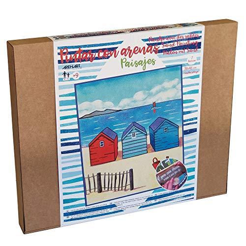 Arenart | 1 Lámina Casitas Playa 38x46cm | para Pintar con Arenas de Colores | Manualidades para Adultos y Jóvenes | Dibujo Fácil | Pintar por números | +9 años