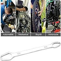 ダブルエンドレンチユニバーサルスパナ8-22mmキーセットスクリューナットレンチ修理、トルクスレンチダブルエンドレンチ自転車ツール (白い)