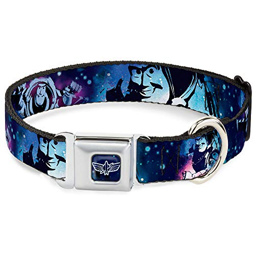 Dog Collar Seatbelt Buckle Buzz Lightyear Poses Galaxy Blues 18 to 32 Inches 1.5 Inch Wide