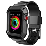 Compatible with Watch Case with Band 42mm, Rugged Protective Case with Sport Bands Replacement for Watch Series 3/2/1 42mm Black
