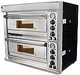 Beeketal 'BPO33-1' Profi Pizzaofen mit 400x400 mm Schamottstein Backfläche, Gastro Steinbackofen für Pizza, Brot und Backwaren, Leistung 2000 Watt, Pizzabackofen Temperatur bis zu 350°C