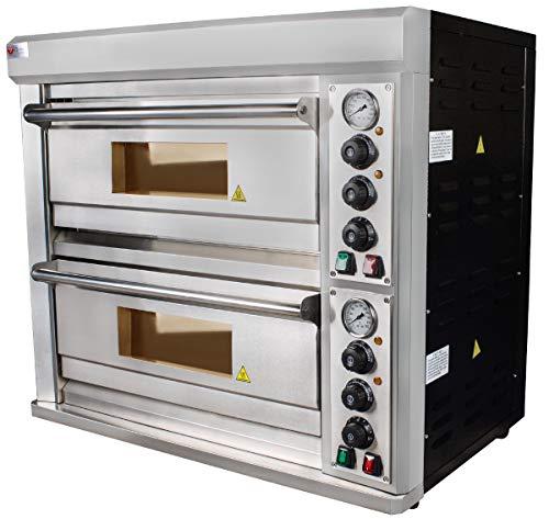Beeketal 'BPO040-2' XL Profi Doppel Kammer Pizzaofen mit 2x 638x430 mm Schamottstein Backflächen, Gastro Steinbackofen für Pizza, Brot und Backwaren, 8800 Watt, Pizzabackofen Temperatur bis zu 350°C