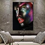 SADHAF Maquillaje creativo Rostro femenino Acuarela Cartel y Lienzo Pintura Decoración para el hogar A1 30x40cm