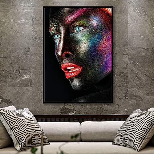 SADHAF Maquillaje creativo de acuarela Cara en blanco y negro Chica Cara lateral Cartel Impresión en lienzo Home Art Deco Mural A4 60x80cm
