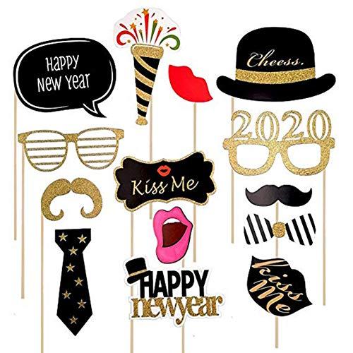 Balight 1 Set Sparkling 2020 Happy New Year Photo Booth Atrezzo con marco de fotos Brillante Fiesta de Año Nuevo Cartel de Pose Año Nuevo Cuenta atrás Eve Party Supplies Decoraciones 1 SET