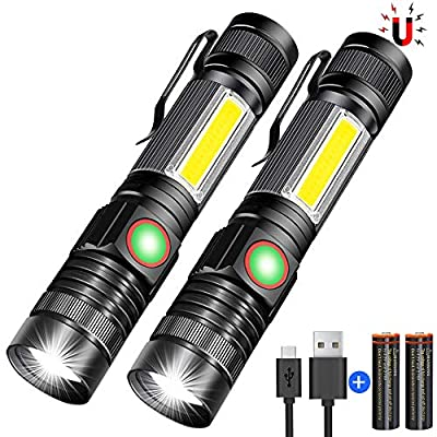 Rechargeable Flashlight with Magnet, LED Flashlights with Work Flash Light - 4 Models, Zoomable, Water Resistant, Vnina High Lumens Flashlight Included Battery for Hiking or Repairing?2 Pack?
