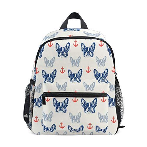 MNSRUU Mini Backpack for Kids 3-8 Years Old Boys Girls French Bulldog School Bookbags with Detachable Buckle