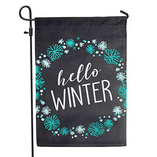 "Second East Hello Winter Garden Flag Outdoor Patio Seasonal Holiday Fabric 12"" X 18"""