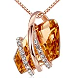 Leafael Wish Stone Pendant Necklace with Amber Brown Birthstone Crystal for November, 18K Rose Gold Plated, 18' + 2' Chain