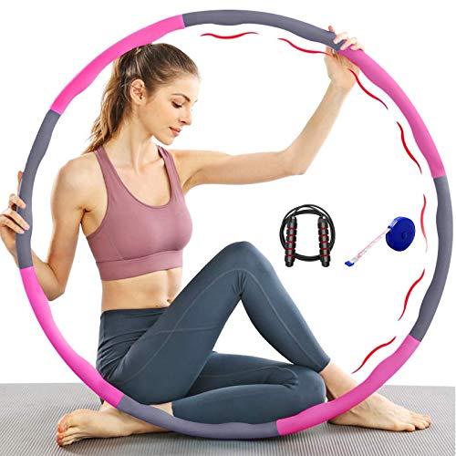 Owoda Aro de hula hoop para fitness, pérdida de peso y masaje, con una cuerda de saltar y cinta métrica, 6-8 segmentos desmontables, adecuado para fitness, deporte, moldear el abdomen B