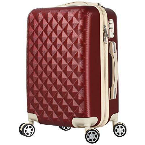 BASILO-012 キャリーバック スーツケース キャリーケース 人気 かわいい Mサイズ 48L 4〜7日用 TSA キルト風 (ワインレッド, m)