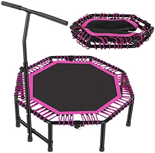 Gymqian Adult Fitness Trampoline Adjustable Handles Super Sound-Off Foldable Fitness Trampolines Suitable for Indoor Outdoor Garden Aerobic Exercise -121Cm Garden