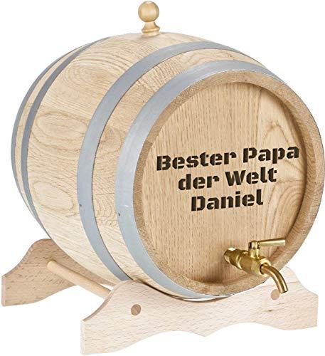 Personalisiertes Holzfass mit Gravur Bierfass, Rumfass, Whiskyfass mit Gravur und Zapfhahn aus Messing Massives Eichenfass Schnapsfass mit Namen, Geschenk für Ihn und Sie (2 Liter - Freitext)