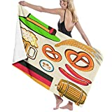 SUDISSKM Toalla de Playa de Playa de Microfibra Grande,Oktoberfest símbolo Salchicha de Trigo Cerveza y Pretzels Colorido arreglo bávaro,Toalla de Baño Suave de Secado Rápido 130x80CM