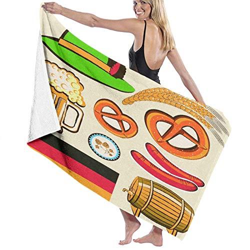 KASMILN Toallas de baño,de Playa,Oktoberfest símbolo Salchicha de Trigo Cerveza y Pretzels Colorido arreglo bávaro,Muy Absorbente y Suave para Yoga, Fitness, Camping y Deportes al Aire Libre.