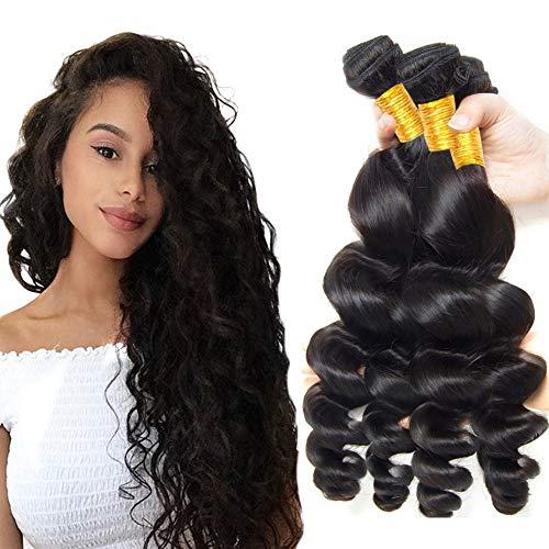 Extension brasiliane ondulate, con capelli umani vergini e 100% non trattati, color nero naturale, peso 95-105g/ciocca, 3 pezzi