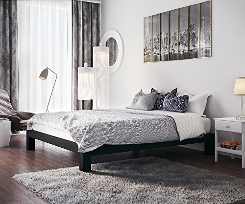 In Style Furnishings Stella Modern Metal Low Profile Thick Slats Support Platform Bed Frame - Queen Size, Black