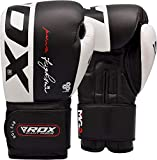 RDX Boxing Gloves for Training Muay Thai Cowhide Leather Mitts for Sparring, Kickboxing Fighting Great for Heavy Punch Bag, Focus Pads, Grappling Dummy and Speed Ball Punching