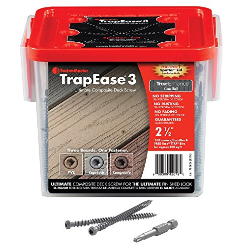 FastenMaster TrapEase 3 Deck Screws for Composite, PVC and Capstock Decking - Box of 350 - Trex Transcend Rope Swing Color